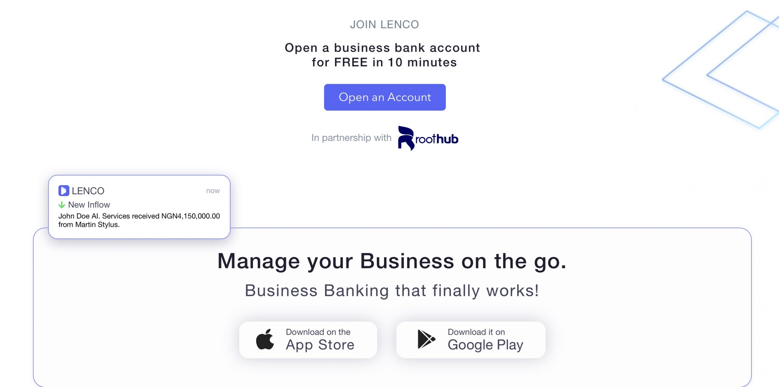Roothub partners with Lenco.ng to provide seamless digital banking